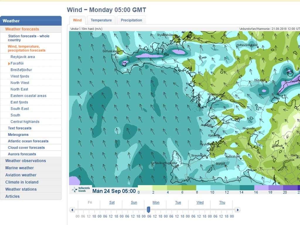 Izland időjárás előrejelzés: a türkiz szín erős szelet jelent