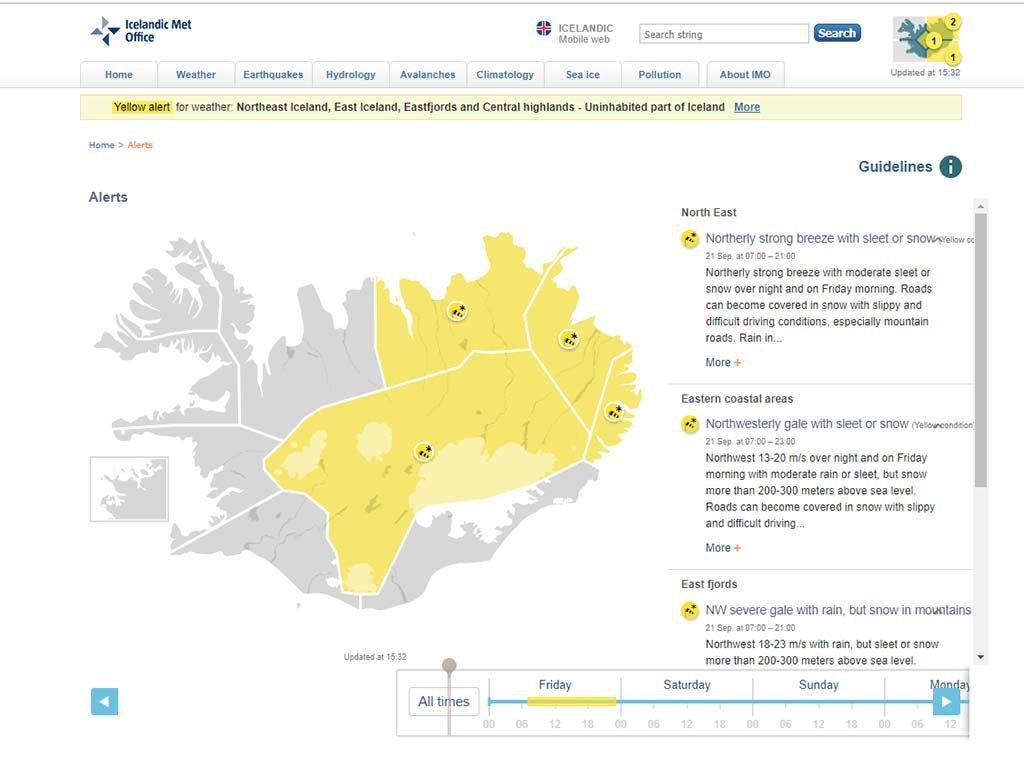 Izland időjárás előrejelzés