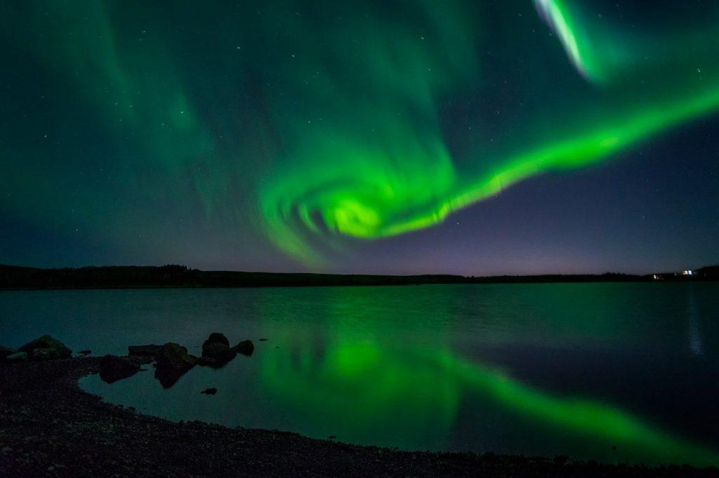 Sarki fény Reykjavik közelében