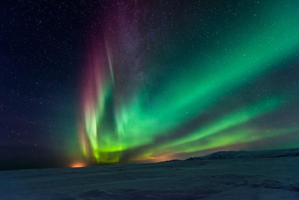 izland felföld aurora borealis
