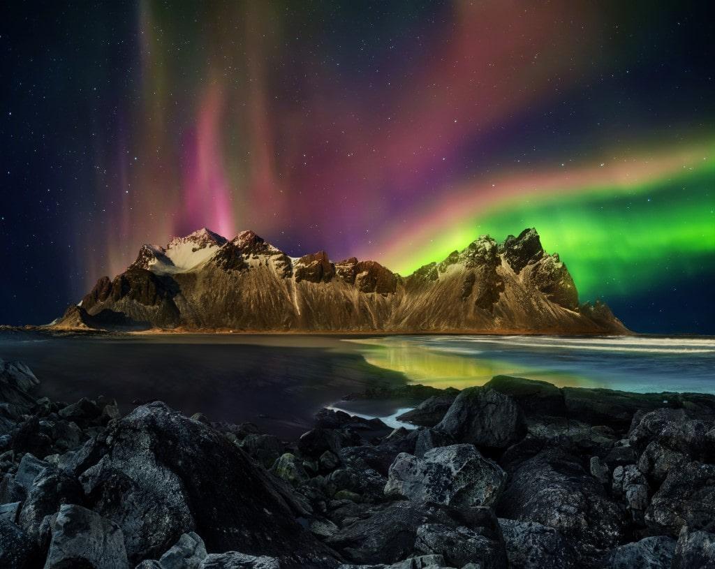 Sarki fény Dél-Kelet Izlandon